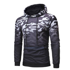 Mens Fashion Color Block Long Sleeve Casual Hooded Sweatshirt - Slabiti