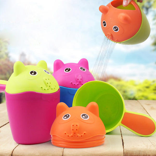 Vvcare BC-K58 Plastic Baby Kids Cute Cat Shampoo Cup Colorful Bath Shower Cup Baby Washing Head - Slabiti