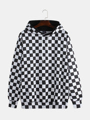 Fashion Plaid Hooded Drawstring Long Sleeve Casual Sweatshirt - Slabiti