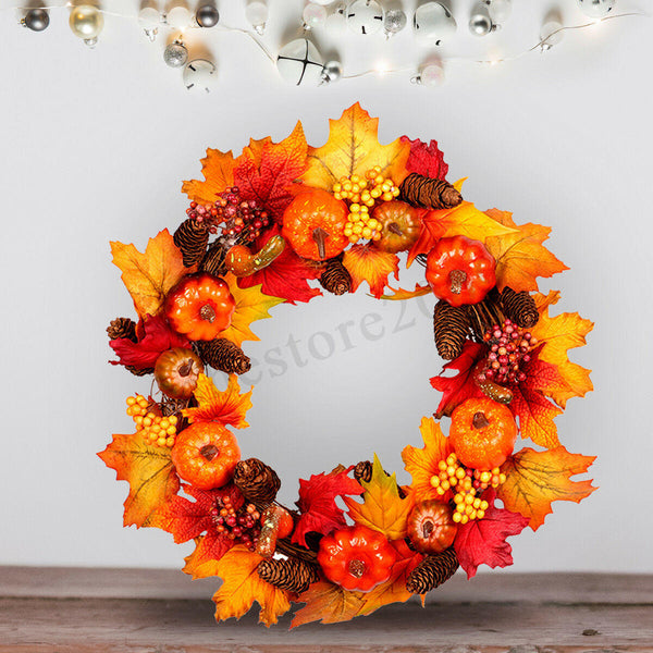 45/60cm Wreath Garland Maple Leaves Pumpkin Door For Christmas Party Decorations - Slabiti