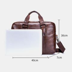 Genuine Leather Vintage Handbag Shoulder Bag Messenger Bag For Men - Slabiti