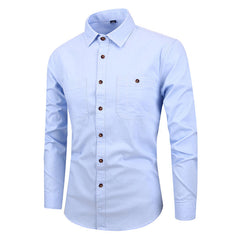 Mens Long Sleeve Cotton Pocket Slim Casual Faux Denim Shirts - Slabiti