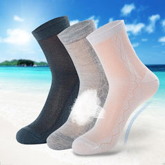Men Summer Ultra Thin Breathable Socks Cotton Deodorant Sweat Middle Socks - Slabiti