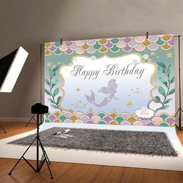 Our Little Mermaid Sweet Birthday Party Backdrop Decorations Background Baby Photography Props - Slabiti