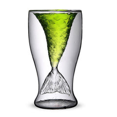 Unique Double Mermaid Beer Glass Mug Transparent Wine Cup Beer Coffee Mug Bar Beach Drinkware - Slabiti