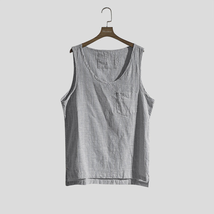 Mens Sport Stripe Tank Tops Practical Pocket Casual Vest - Slabiti