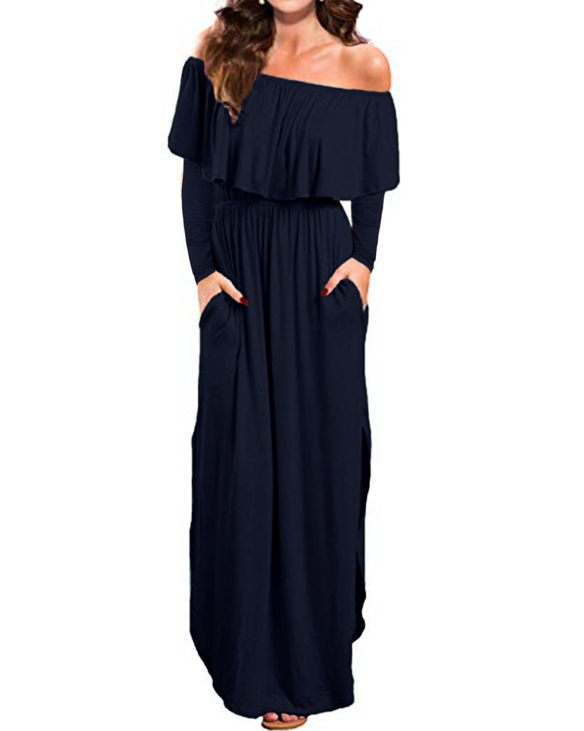 Off Shoulder Long Sleeve Side Split Beach Maxi Dress