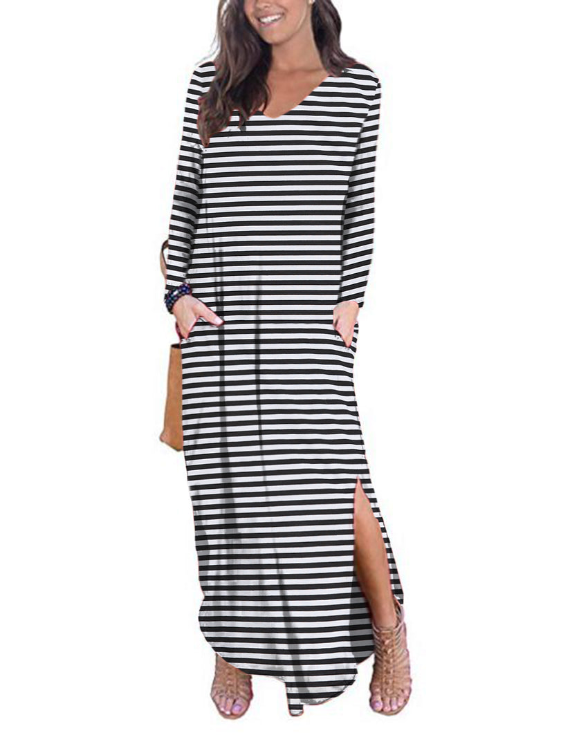 Women Striped V-neck Long Sleeve Casual Split Maxi Dress