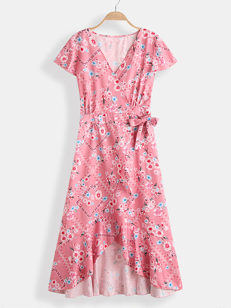 Bohemian Floral Print V-neck Short Sleeve Maxi Dress