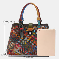 Women Genuine Leather Patchwork Tote Bag Crossbody Bag Shoulder Bag Handbag - Slabiti