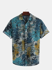 Mens Summer Cotton Floral Printed Short Sleeve Hawaiian Casual Shirts - Slabiti