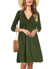 3/4 Sleeve V Neck Twist Knot Front Waist Dress