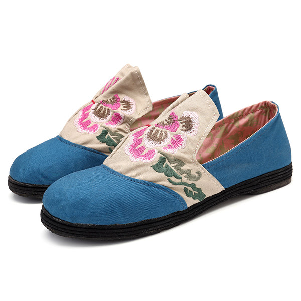 Folkways Floral Embroidery Slip On Flat Loafers Shoes