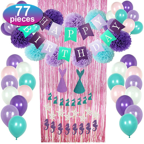 77pcs Mermaid Party Supplies Party Decorations for Girls Birthday Party Baby Shower Decoration - Slabiti