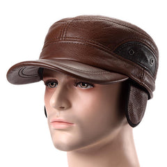 Unisex Cowhide Genuine Leather Earflap Ear Muffs Baseball Cap Fleece Lining Adjustable Military Hat - Slabiti