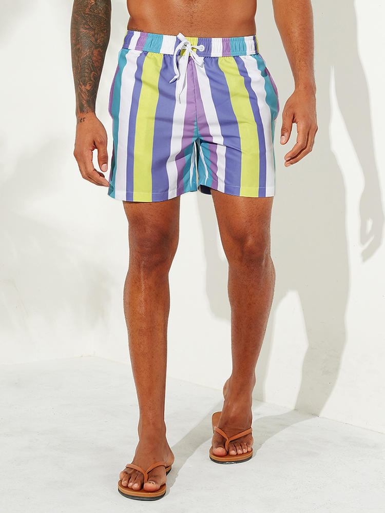 Mens Holiday Colorful Beach Stripe Hawaiian Casual Shorts - Slabiti