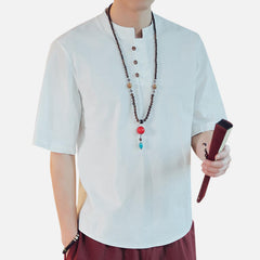 Mens Vintage Chinese Style Solid Color Linen T-shirts - Slabiti