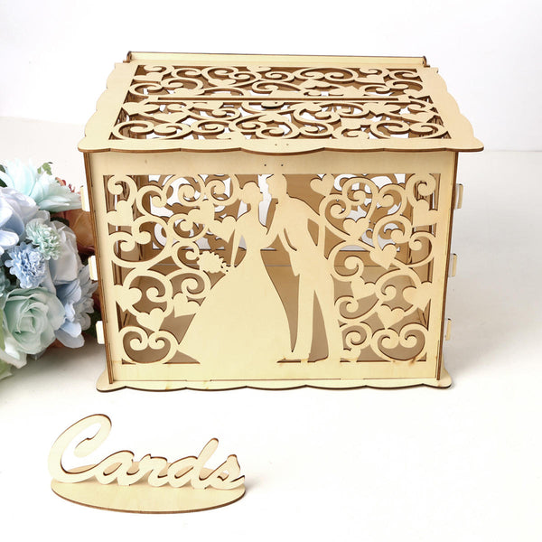 Wooden Card Box Wedding Advice Wishing Box with Lock Gift Wedding Party Favor - Slabiti