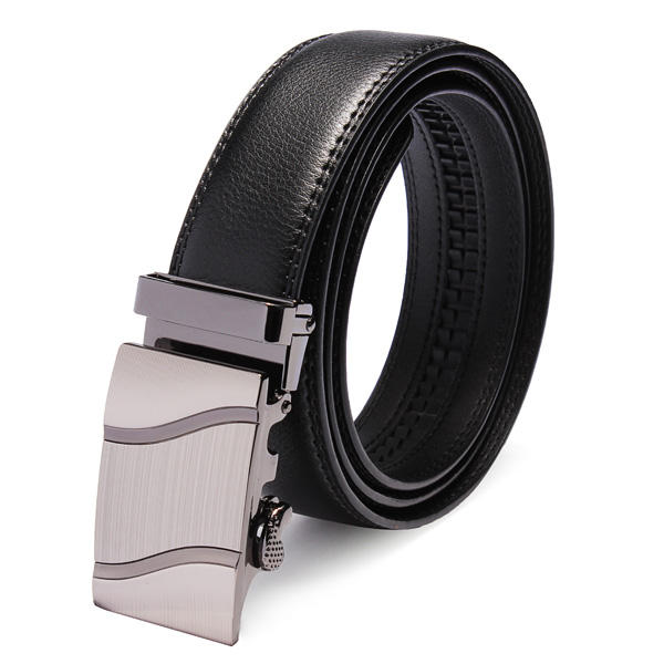 Mens Automatic Buckle Business Leisure Black Leather Belt - Slabiti