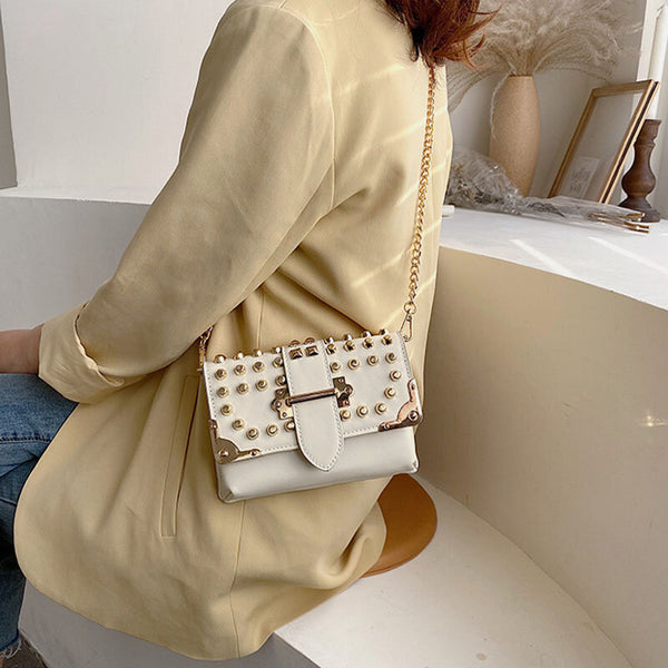 Fashion Chain Rivet Crossbody Bag Chest Bag Shoulder Bag For Women - Slabiti