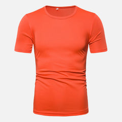 Men Solid Color Crew Neck Short Sleeve T-Shirts - Slabiti