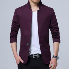 Men's Casual Single Breasted Suits Stand Collar Pure Color Jackets - Slabiti