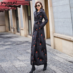 long down jacket female winter 2019 waist to keep warm to the ankle 6032 new white duck down cultivate morality - Slabiti