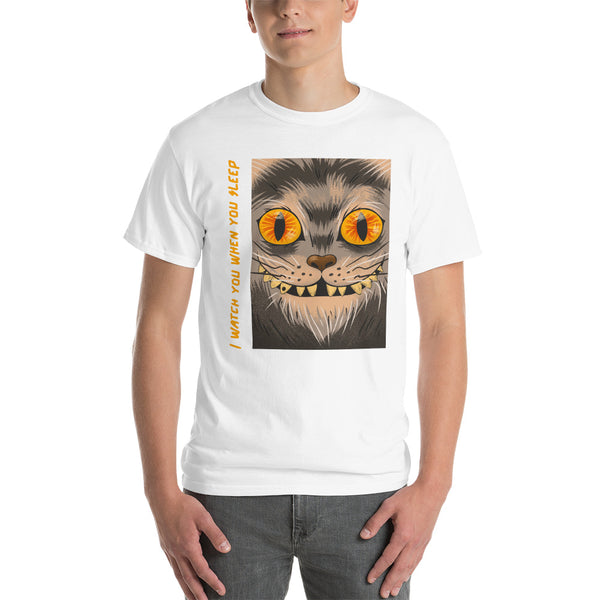Short Sleeve vintage t-shirt design with a creepy smiling cat face - Slabiti