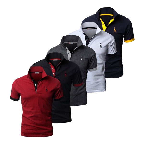 5 Pcs Set Polo Men Solid Slim Fit Short Sleeve Patchwork 100% Cotton - Slabiti