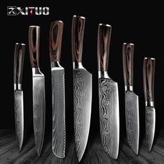 "High quality 8""inch laser Damascus steel Utility Chef Knives - Slabiti"