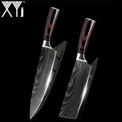 XYj New Arrival 2019 Kitchen Cooking Stainless Steel Knives Tool Fruit Utility Santoku Chef Slicer Damascus Veins Kitchen Knives - Slabiti