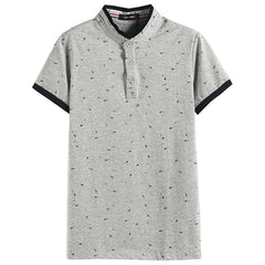 Summer Guitar Printed Stand Collar Polo Shirt Men - Slabiti