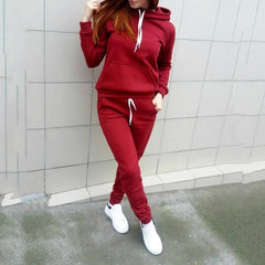 Women Hoodies Pant Clothing Set Casual 2 Piece Set Warm Clothes Solid Tracksuit Women Set Top Pants Ladies Suit - Slabiti