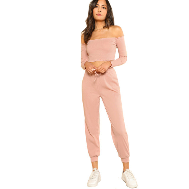 SHEIN Women 2 Piece Set Top and Pants Casual Woman Set Off the Shoulder Crop Bardot Top and Drawstring Pants Set - Slabiti