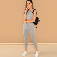 SHEIN Grey Heathered Knit Crop Tank Top and Drawstring Waist Leggings Set Women Spring Skinny Sporting Workout Two Piece Sets - Slabiti