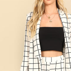 SHEIN White Shawl Collar Grid Plaid Cigarette Blazer And Pants Set Long Sleeve Co-Ord Women Spring Elegant Workwear Twopiece - Slabiti