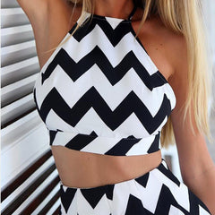 Womail Women tracksuit summer Fashion Sexy 2 piece set Sleeveless Wavy Stripes Casual Top With Shorts Suits beach J63 - Slabiti