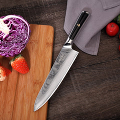 "SUNNECKO Professional 8"" Damascus Steel Chef Knife Japanese VG10 Core Blade Razor Sharp Kitchen Knives G10 Handle Meat Slicer - Slabiti"