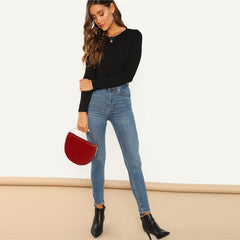 SHEIN Black Office Lady Casual Scoop Neck Long Sleeve Mid Waist Skinny Solid Bodysuit 2018 Autumn Workwear Women Bodysuits - Slabiti