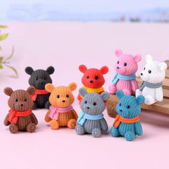 Colorful Cute mini plastic dolls bears home decor decoration accessories modern Christmas Halloween miniature fairy garden - Slabiti