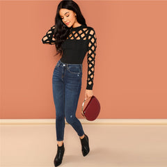 SHEIN Black Going Out Skinny Knot Mid Waist Mock Neck Stand Collar Geo Cut Out Bodysuit 2018 Summer Fashion Women Bodysuits - Slabiti