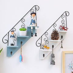 Wooden Wall Mounted Staircase Storage Racks For Display Bookshelf Decoration Shelf Ladder Storage Racks Ladder Iron Hooks - Slabiti