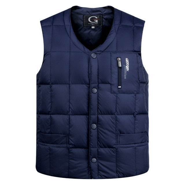 White Duck Down Jacket Vest Men Autumn Winter Warm Sleeveless V-neck Button Down Lightweight Waistcoat Fashion Casual Male Vest - Slabiti