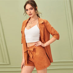 SHEIN Solid Notched Neck Elegant Blazer With Belted Shorts Suit Set Women Outfits Office Ladies Two Piece Sets - Slabiti
