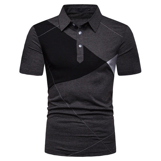 HuLooXuJi Summer Men Polo Shirt Business Casual Pactwork Stitching Color Male Short Sleeve - Slabiti