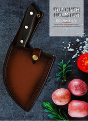 Butcher Knife Forged Handmade Carbon Clade Steel Full Tang Blade Leather Cover Sheath Cleaver Chopping Knife Tools - Slabiti