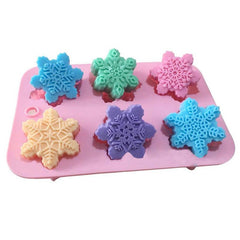 6-Piece Different Patterns Christmas Snowflake Oriental Cherry Shaped Silicone Cake Mold DIY Handmade Soap Mold - Slabiti