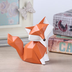 Nordic modern abstract geometric fox crafts desktop ornaments creative for office home decorations animal resin crafts - Slabiti