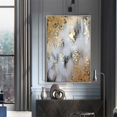 Big size Handmade thick knife abstract oil painting Gold Gray White gorgeous abstract Painting home Decor Oil Painting on Canvas - Slabiti