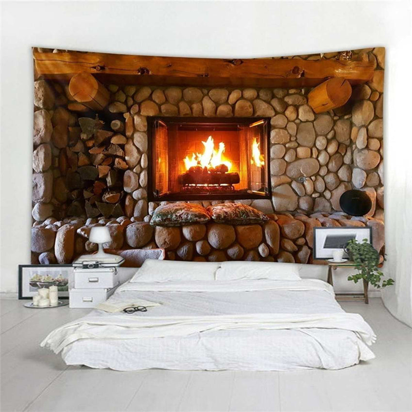 3D Tapestry Wall Hanging Tapestries Curtain Fireplace Christmas Rock Stone Bedspread Beach Towel Tablecloth wall Art Decoration - Slabiti